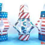 Paper American Flag Lantern Craft for Kids