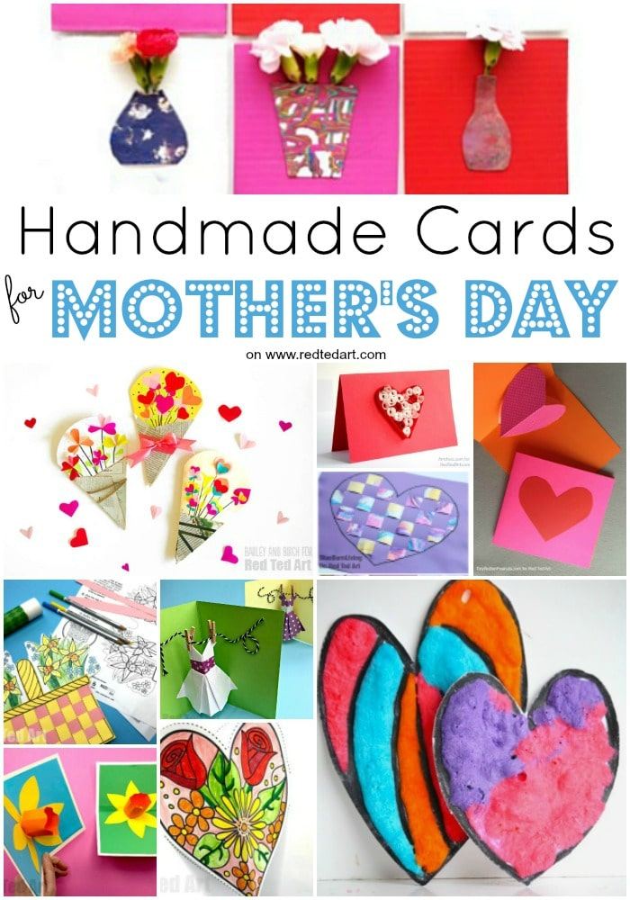 Collage of Mother's Day Card Ideas - including flowers and hearts