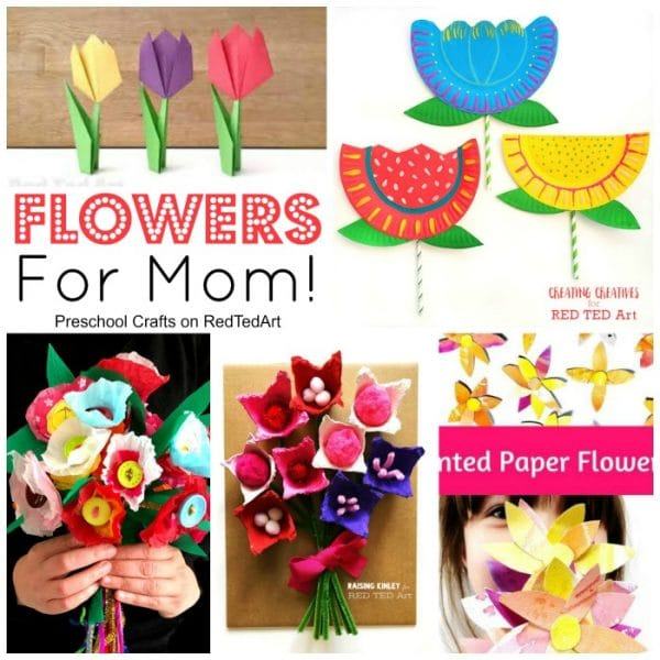 Collage of flower crafts for Mother's Day