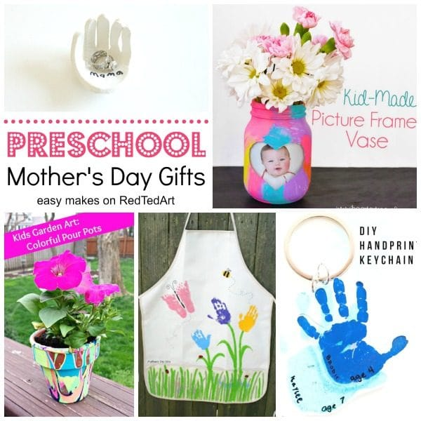 Collage with mother's day gifts for preschoolers to make, including hand bowl and handprint apron