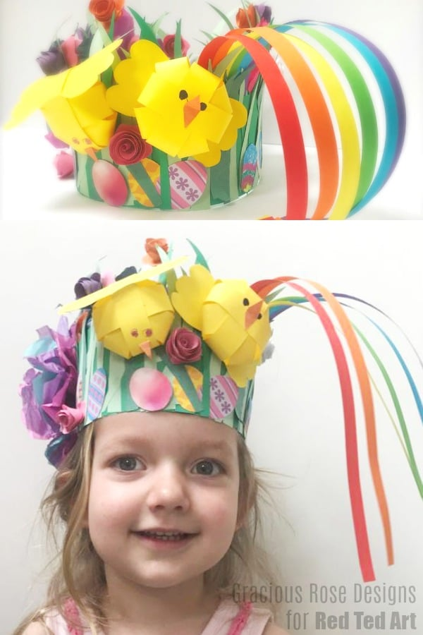 Collage of easy paper Easter Bonnet with spring chick, rainbows and preschooler