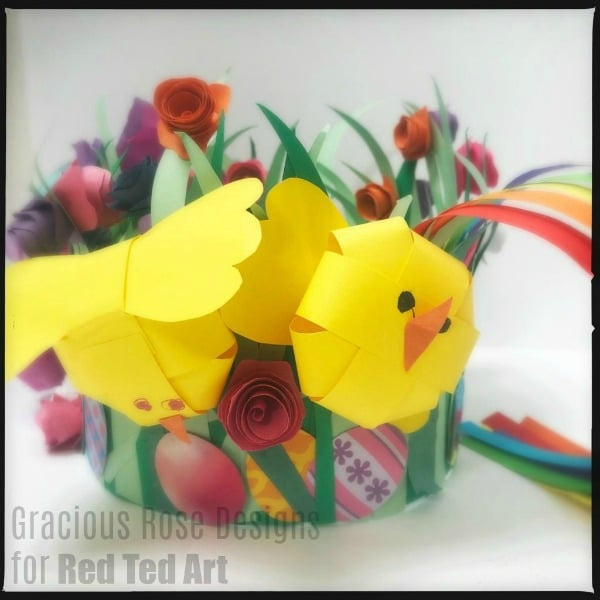 Detail of Easter Bonnet with Paper Chicks