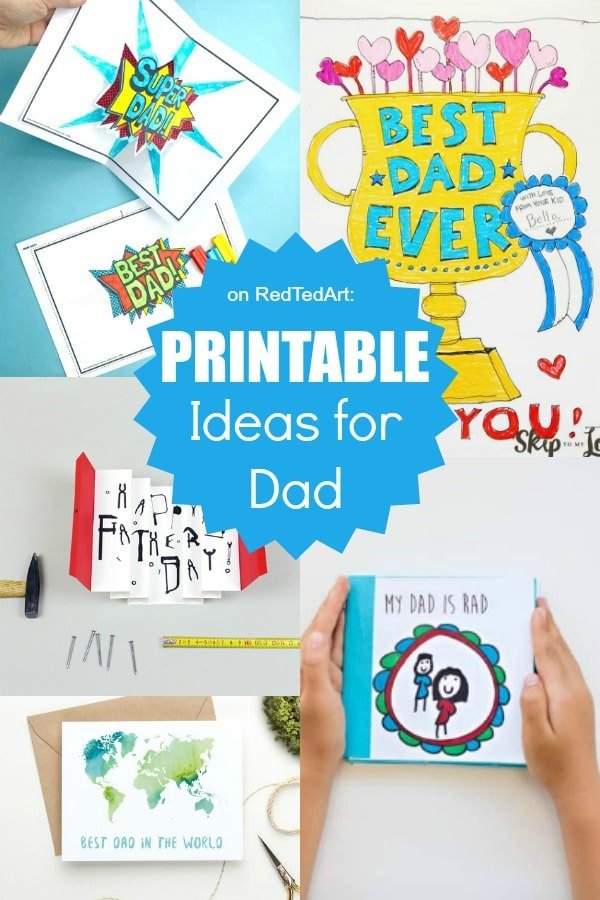 Collage of printable Father's Day Cards and Gifts - including cards and coloring pages