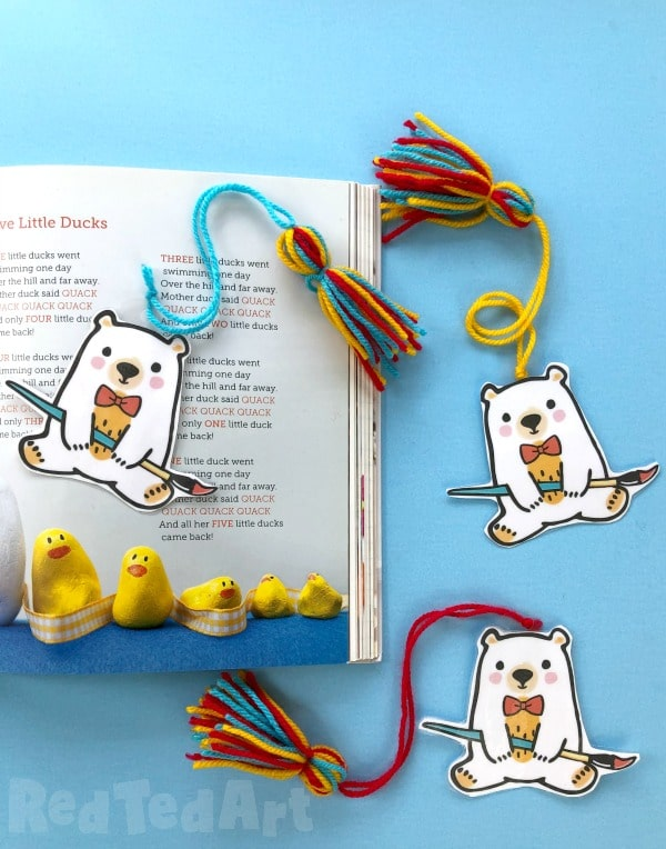 Teddy Bear Bookmarks with colourful tassel