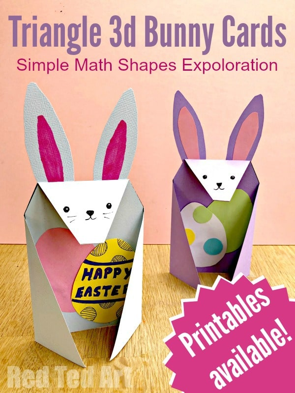 photograph about Printable 3d Paper Crafts known as Triangle Paper Craft Bunny - Pink Ted Artwork