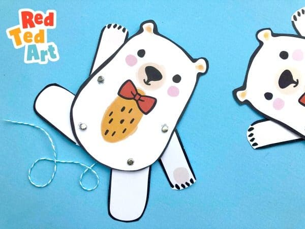 how to make a moving teddy bear paper puppet - printable red ted crafts