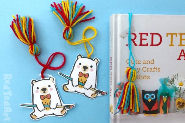 Collection of red ted teddy bear bookmarks with homemade tassel