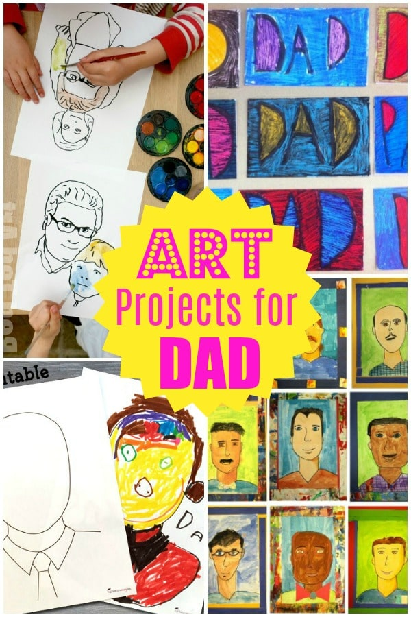 Collage of art projects for father's day, including printable and kids painting