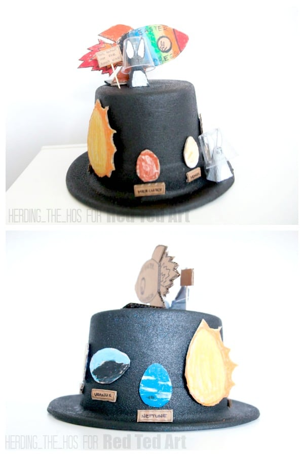 Two sides of the Space themed Easter Bonnet Idea for boys