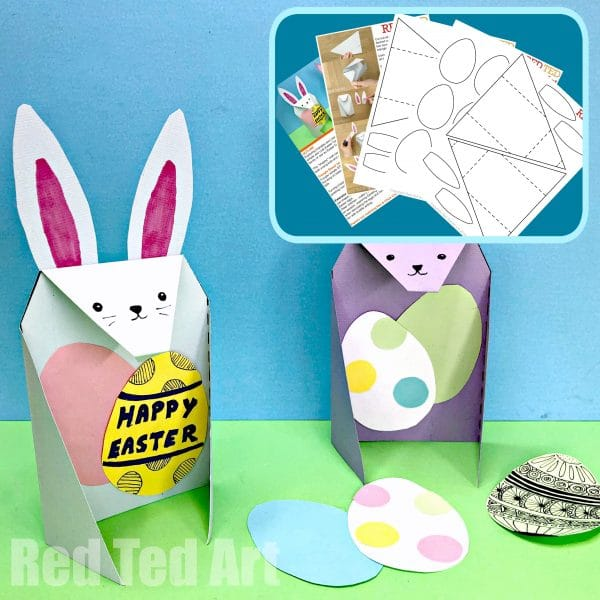 Exploring Triangles in the classroom? A fun Trinagle Paper Craft Bunny for Easter. Turns into an easy folding Easter Card too. Simple 3d Paper Bunny! #easter #cards #steam #triangles #shapes #printables #lessonplans