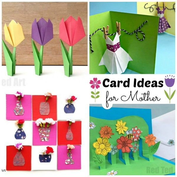 collage of card designs for mother's day, including flower card designs