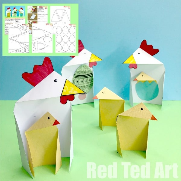 Triangle Paper Craft Chicken & Chick - A great TRIANGLE Paper Craft for kids. Exploring shapes and triangles? Make these simple Triangle Paper Craft Chicken for Easter. Easy folding Easter cards!  #Steam #maths #triangles #Easter #papercrafts #lessonplans