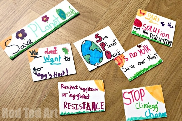 Mini Climate Change Plackards with Easter Puns