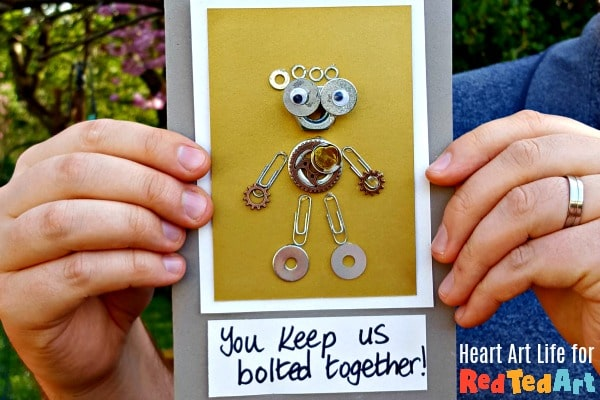 Nuts and bolts fathers day card held by dad