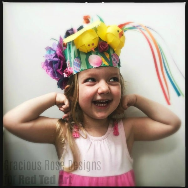 Preschooler Easter Bonnet made from paper - including paper chicks and rainbows