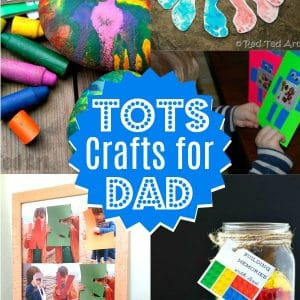 Collage of father's day gifts preschoolers can make
