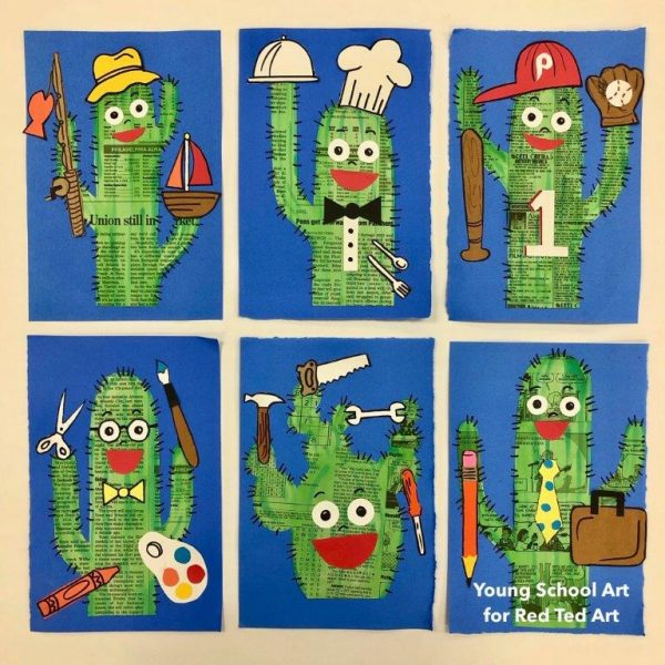 Collection of Father's Day newspaper art cactus project