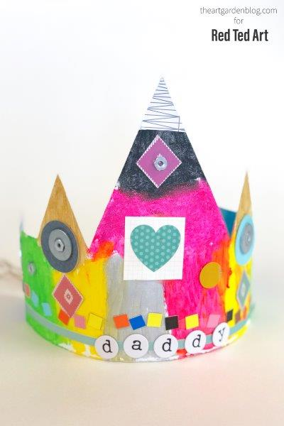 Cardboard crown finished for dad