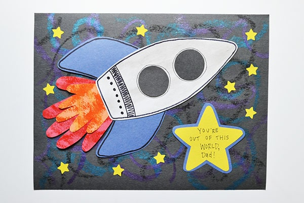 Handprint Rocket Card for Fathers Day Red Ted Art