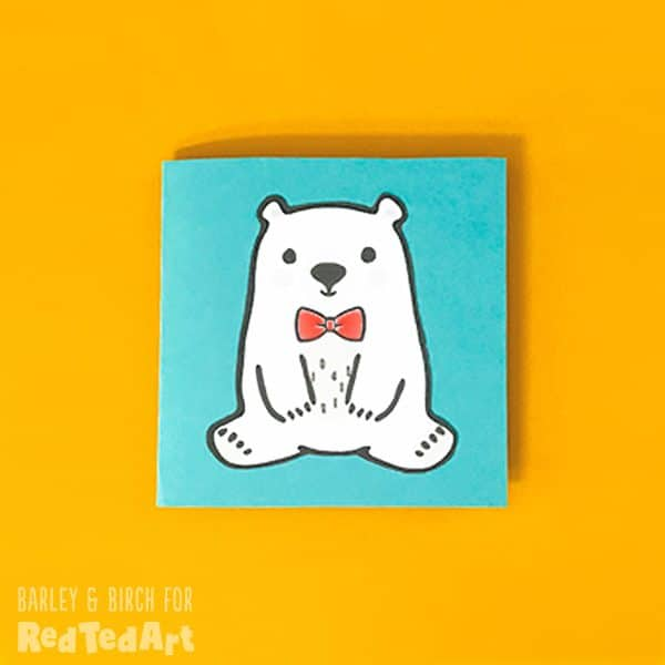 Simple Teddy Bear card with the Red Ted Art mascot