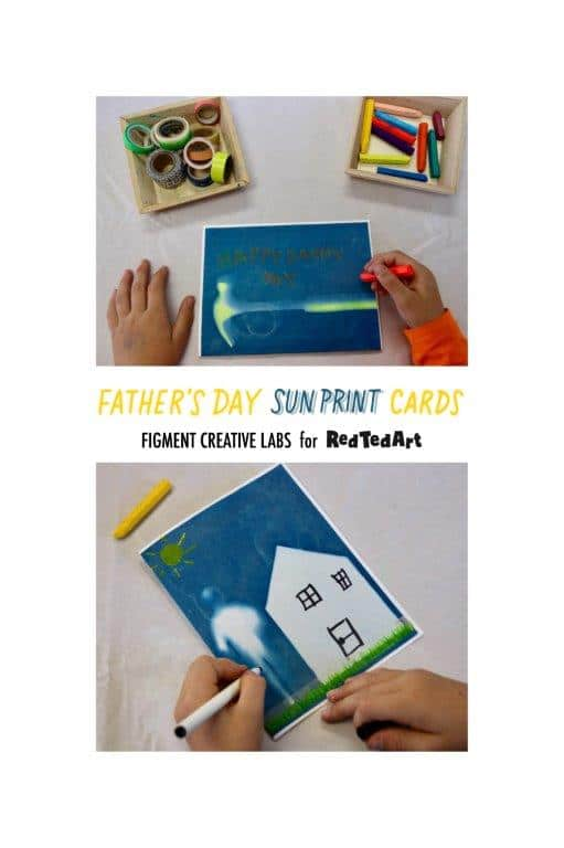 Collage of how to make sun print card for Father's Day.