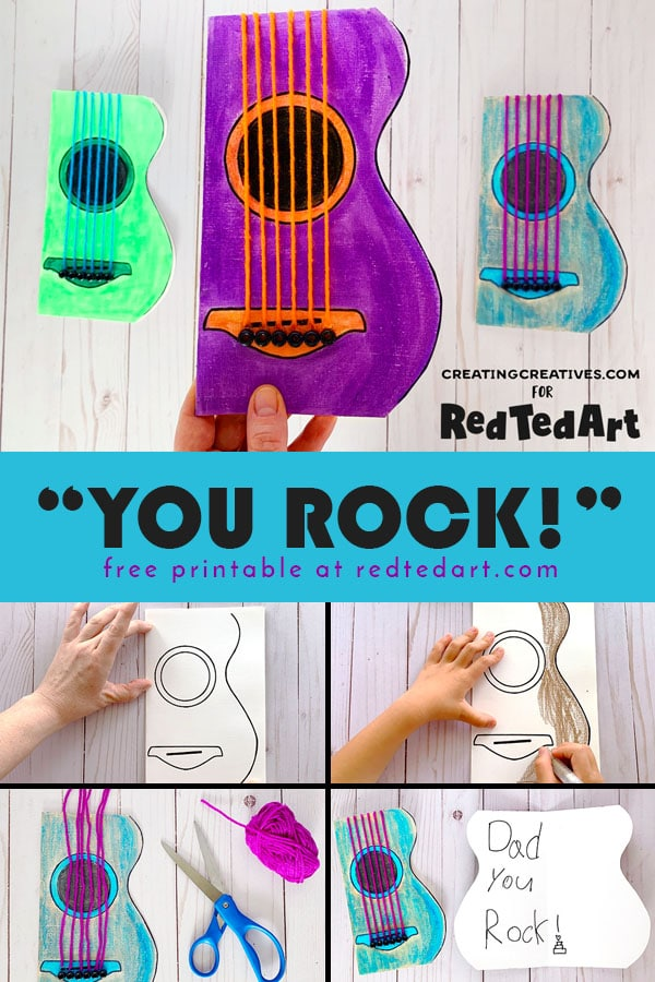 Guitar Cards for Father's Day - Collage of steps
