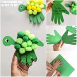 Collage of how to make a Handprint card turtle for Dad