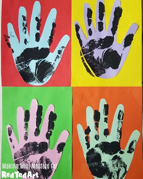 Collage of Handprint Pop Art for Father's Day