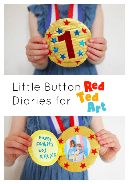 Preschooler showing their father's day medal craft with child's photo!
