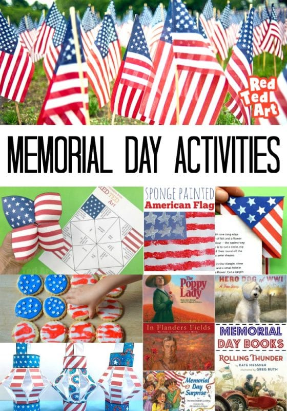 Collage of Memorial Day Activities for Kids, including printables, crafts, decor, food and books