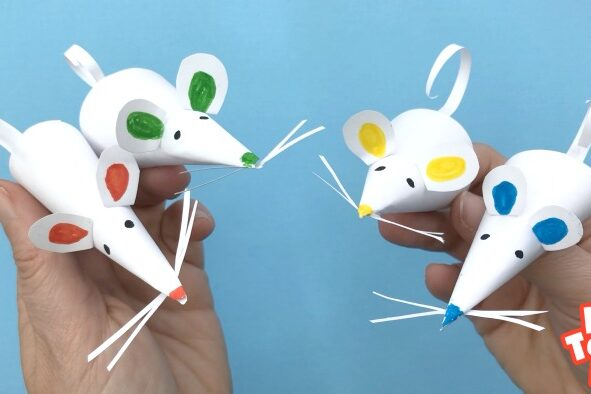 Paper Mice Finger Puppets on Hands
