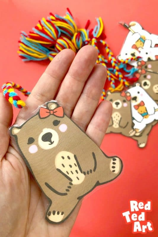 Pip Bear Bookmark - with plaits and tassles - easy printables