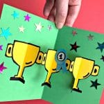 finished pop up throphy card with nr 1 rosette for dad