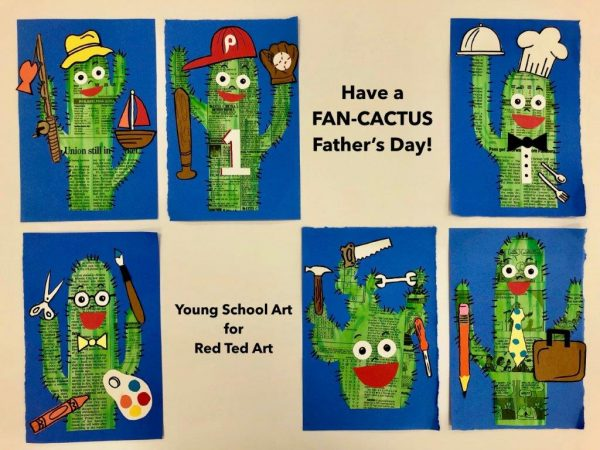 Fan-Cactus Father's Day Pun ideas. Love these personalised Father's Day Newspaper art projects