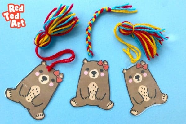 Brown Bear Bookmark Printables with plaits and tassles