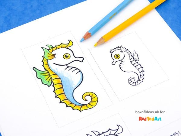 picture relating to Seahorse Printable identified as Seahorse Fathers Working day Card Printable - Crimson Ted Artwork