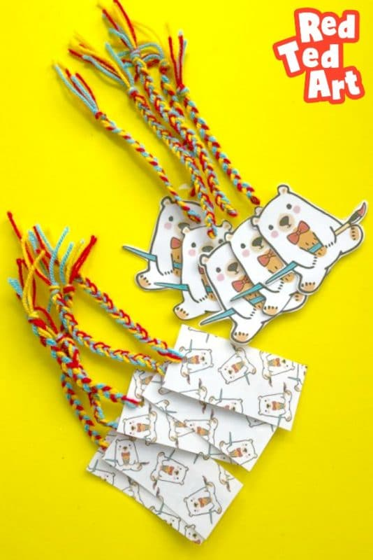 Red Ted Art Bookmarks  - a collection of Ted Bookmarks and rectangular bookmarks with plaits and tassels
