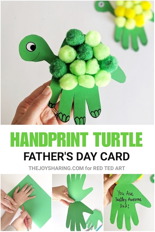 Collage of Turtle Handprint Card and steps to make