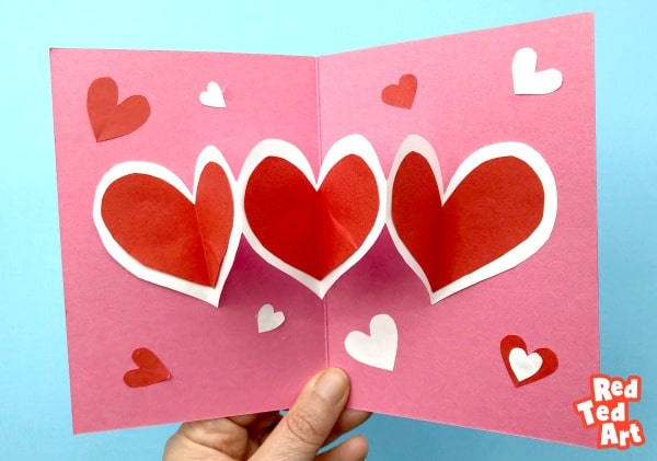 easy heart pop up cards  red ted art  make crafting with