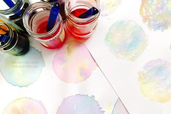 Homemade watercolour painting circles for the Father's Day Art Project