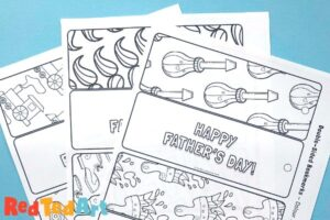3 sheets of coloring bookmarks for dad
