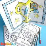 Easy coloring page trophy cards pop up for Father's Day or Sports day