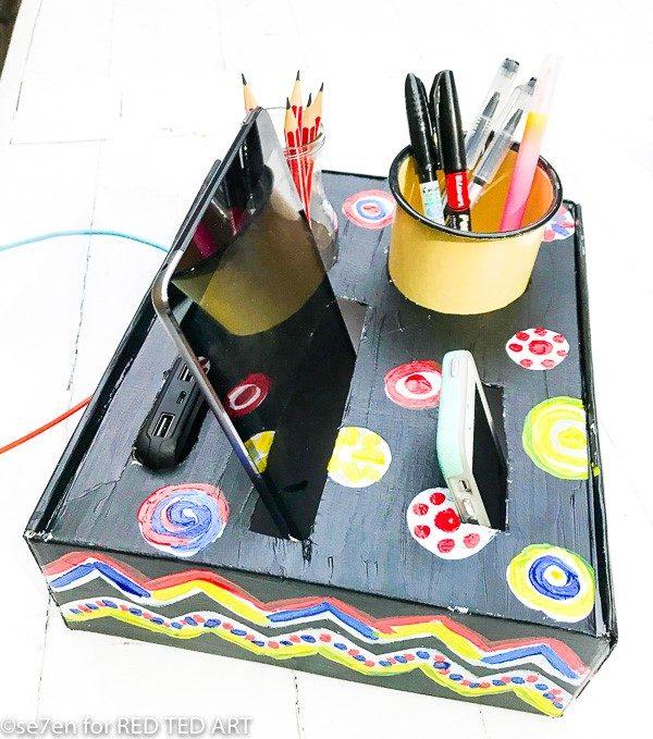 DIY Desk Organiser made from a cardboard box
