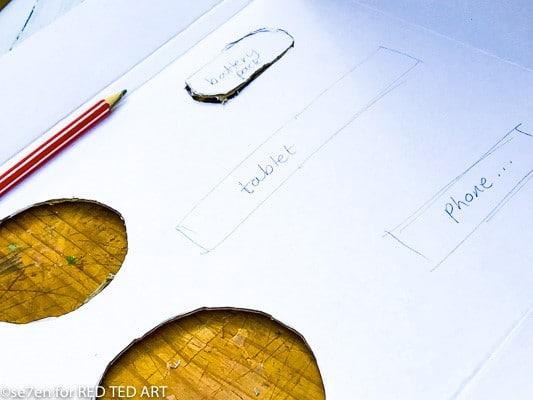 Marking out where you organiser slots will go on the DIY Desk Origaniser