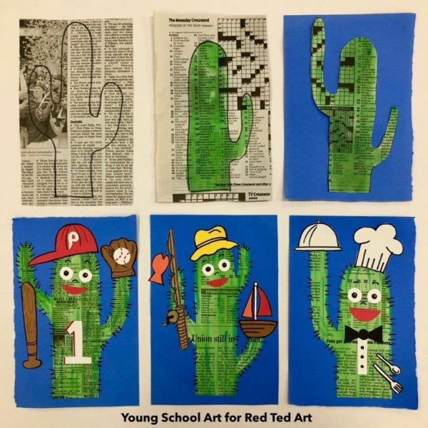 Step by step process for the newspaper cactus art project for father's day