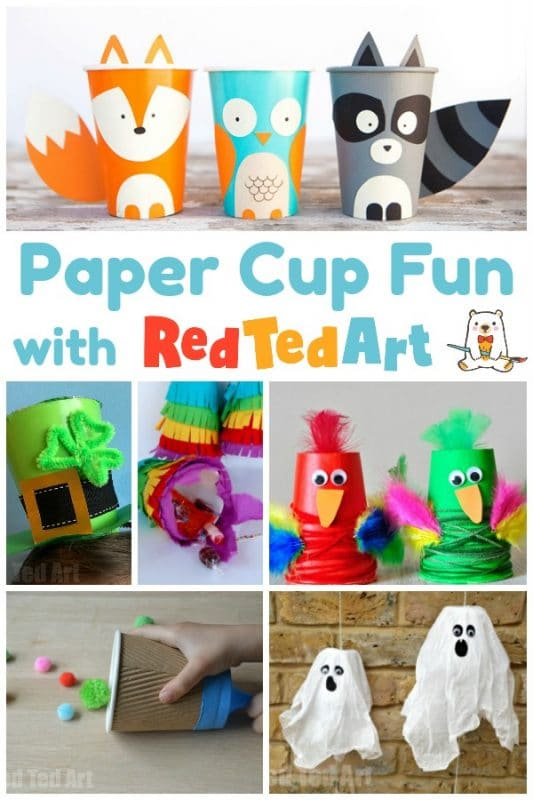 Collage of paper cup crafts for kids to make