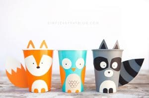 Cutest woodland animal paper cup trio including paper cup fox, owl and racoon