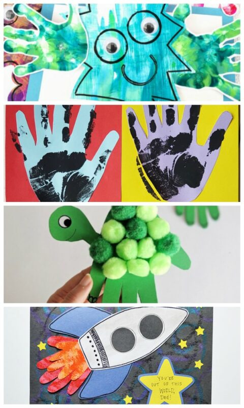 How they grow! Collage of handprint crafts for preschoolers to make for Dad