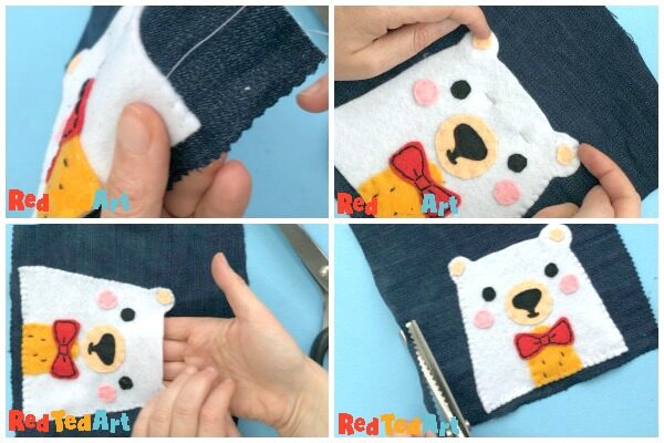 step by step showing sewing of ted applique to jeans bags