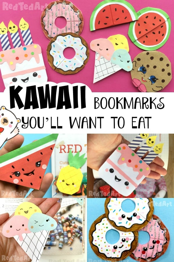 Collage of kawaii food corner bookmarks - cheerful and bright colours